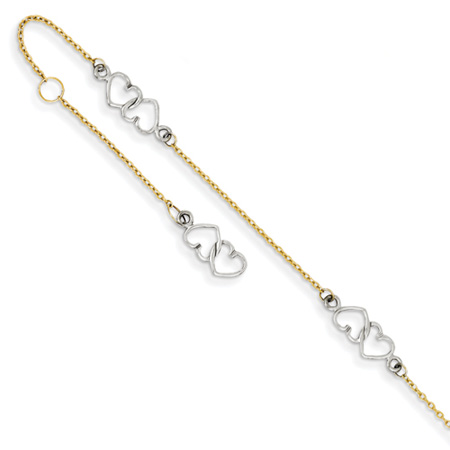 Heart Anklet, 14K Two-Tone Gold