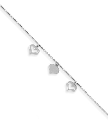 14K White Gold Heart Anklet