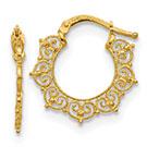 14K Gold Italian Filigree Hoop Earrings