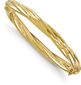 14K Gold Twist Hinged Bangle Bracelet