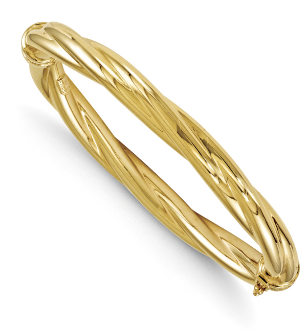 14K Gold Twist Hinged Bangle Bracelet