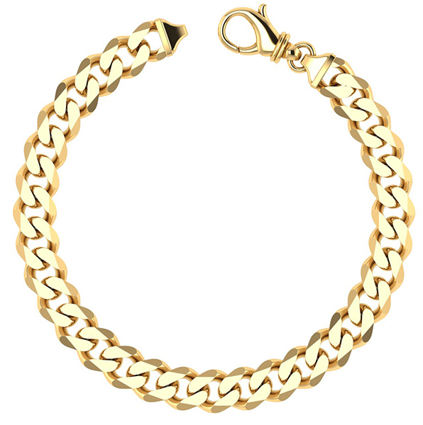 14K Solid Gold Thick Handmade Curb Bracelet (9mm)