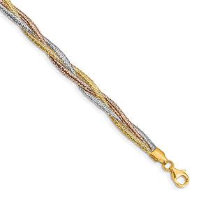 14K Tri-Color Gold Braided Italian Stretch Bracelet