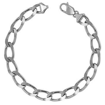 14K White Gold 9mm Handmade Open Link Bracelet for Men