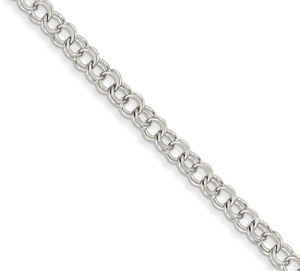 14K White Gold Double Link Charm Bracelet in 8