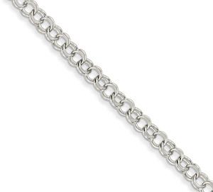 14K White Gold Double Link Charm Bracelet, 7