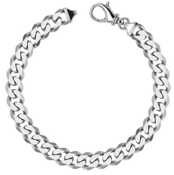 14K White Gold Handmade Heavy Curb Link Bracelet (9mm)