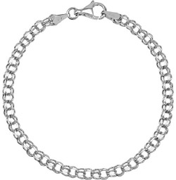 14K White Gold Women's Charm Bracelet