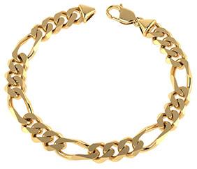 6.8mm 14K Solid Gold Handmade Figaro Link Bracelet