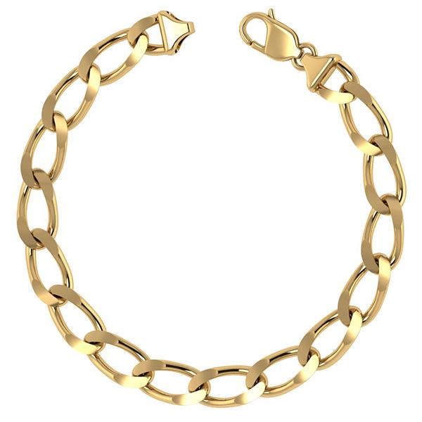 14K Solid Gold 7mm Handmade Open Link Bracelet