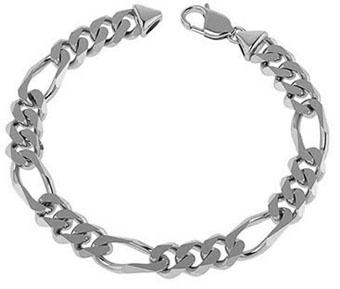 8mm 14K White Gold Handmade Men's Figaro Link Bracelet