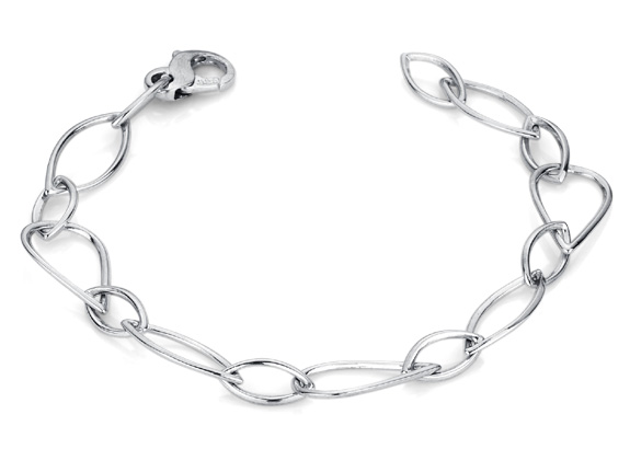 Elliptical Design 14K White Gold Bracelet