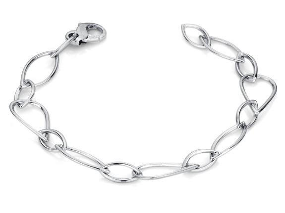 Elliptical Design 14K White Gold Bracelet