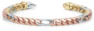 Tri-Color 14K Gold Handmade Link Bracelet