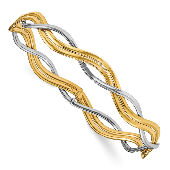 Braided Slip-on Bangle in 14K Two-Tone Gold