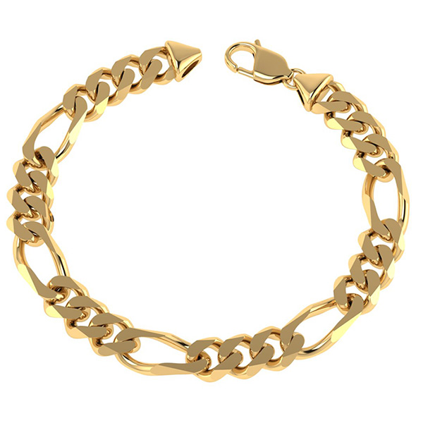 Handmade 14K Solid Gold 8mm Figaro Bracelet