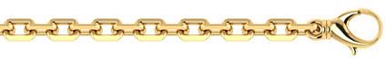 Handmade 14K Solid Gold 6mm Alternating Cable Link Bracelet