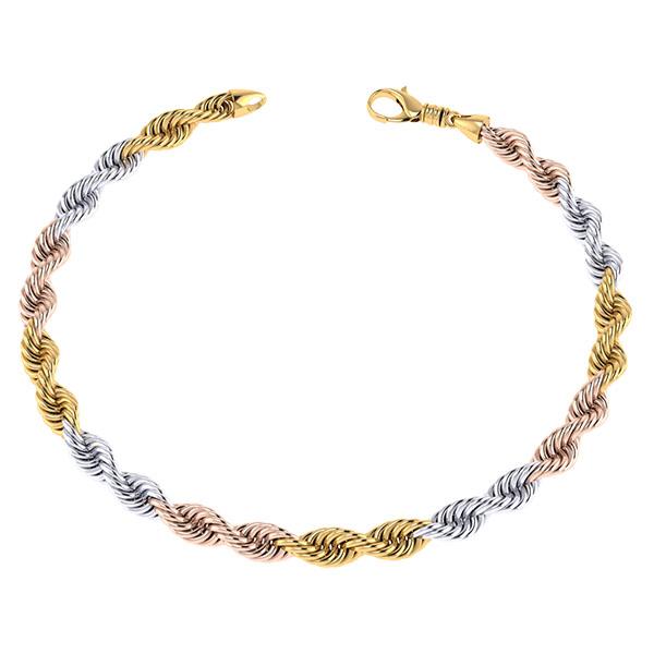 Handmade 14K Tri-Color Gold 8mm Rope Chain Bracelet