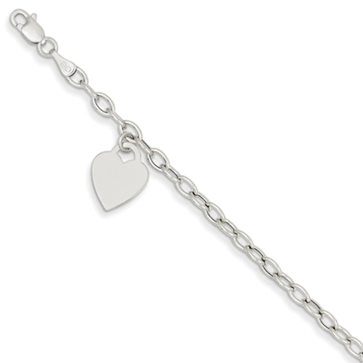 Heart Charm Bracelet in 14K White Gold
