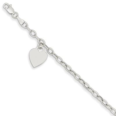 Heart Charm Bracelet in 14k White Gold