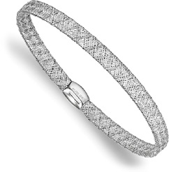 Italian 14K White Gold Flexible Mesh Bangle Bracelet