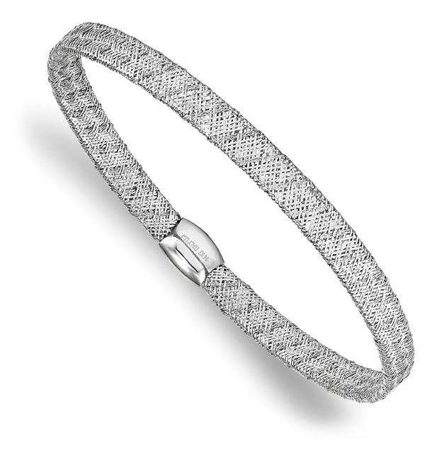 Italian 14K White Gold Flexible Mesh Bangle Bracelet
