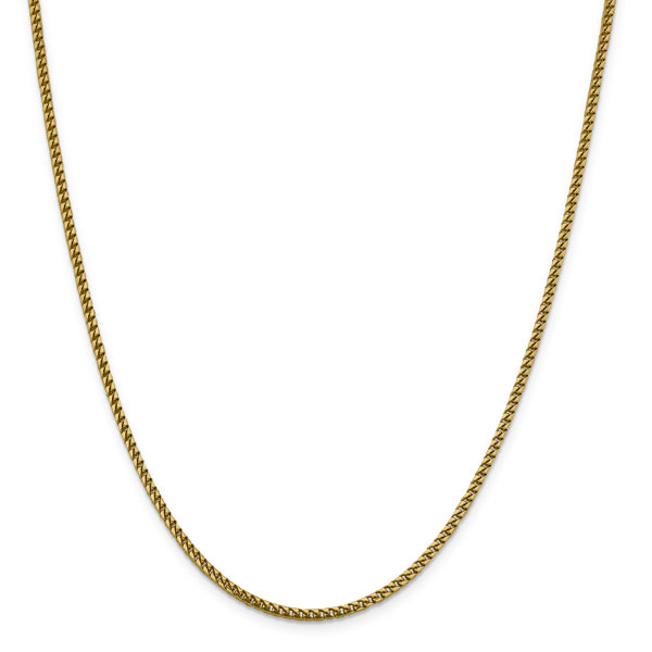 2.4mm Italian Franco Chain Necklace in 14K Solid Gold, 24