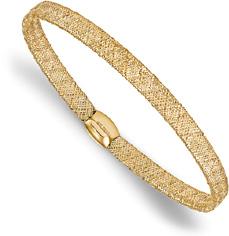Italian Mesh Bangle Stretch Bracelet in 14K Gold