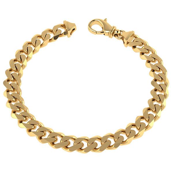 Handmade Men's 14K Solid Gold 7mm Curb Link Bracelet