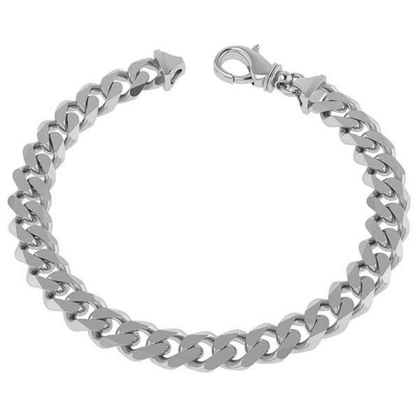 Men's Handmade 7mm 14K Solid White Gold Curb Link Bracelet