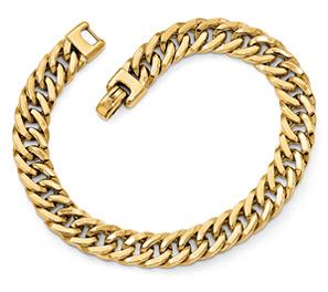 Men's Italian Concave Curb Bracelet, 14K Gold