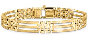 Italian 14K Gold Men's Designer Polished and Brushed Bracelet
