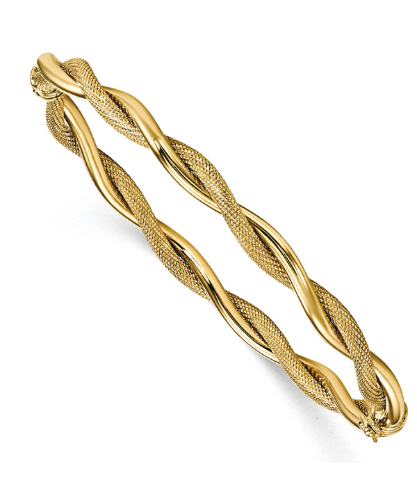 Textured and Polished Twist Bangle Bracelet, 14K Gold