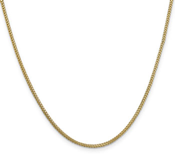 1.3mm 14K Solid Gold Franco Chain Necklace, 20