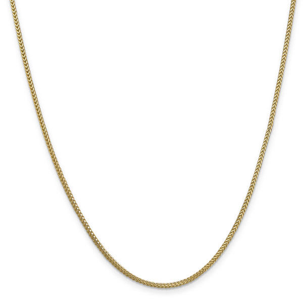 1.3mm 14K Solid Gold Franco Chain Necklace, 24 Inches