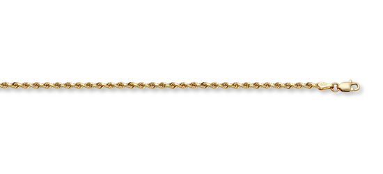 1.5mm Rope Bracelet, 14K Solid Gold