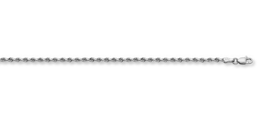 1.5mm Rope Bracelet, 14K White Gold
