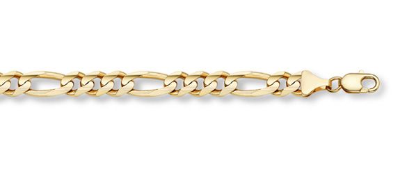14K Gold Figaro Link Bracelet (10mm)