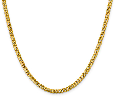 14K Gold Miami Cuban Curb Chain Necklace, 4mm, 24