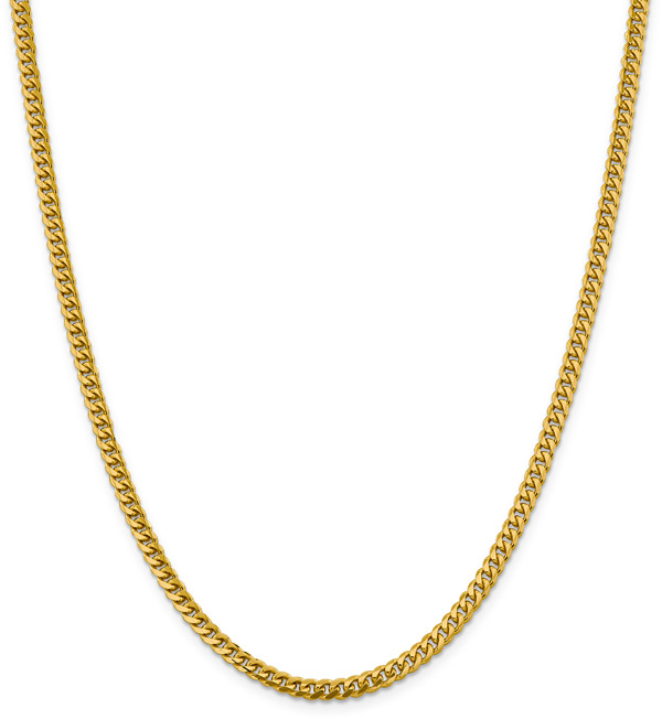 14k Gold 4mm Miami Cuban Chain Necklace