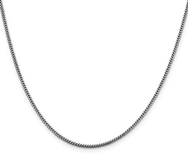 1.4mm 14K White Gold Franco Chain Necklace, 20 Inches
