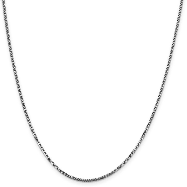 14K White Gold 1.4mm Franco Chain Necklace, 24