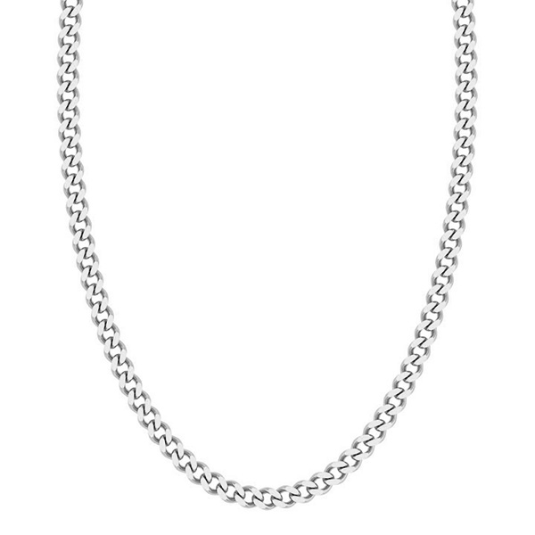 14K White Gold Handmade 5mm Curb Link Chain Necklace