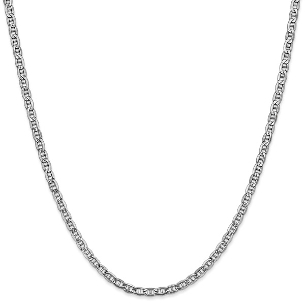 2.4mm 14K White Gold Mariner Chain Necklace
