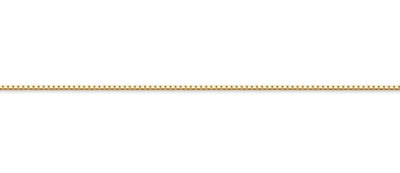 18K Gold Box Chain Necklace, 1mm
