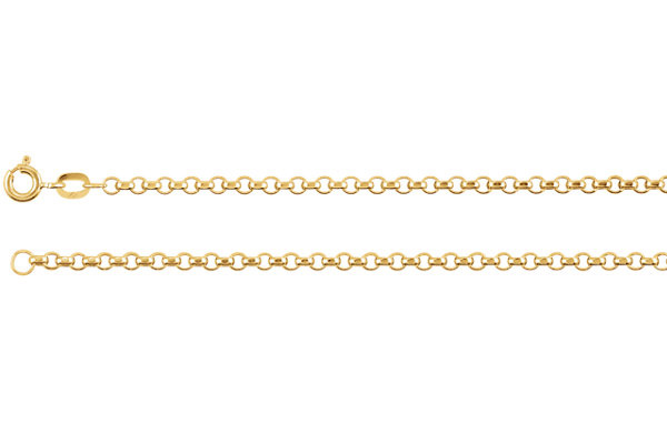 18K Gold Rolo Chain Necklace, 1mm