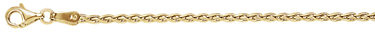 2mm 18K Gold Wheat Chain Necklace, 18