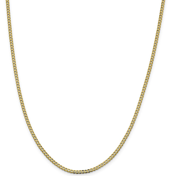 2.3mm Curb Chain Necklace, 14K Solid Gold