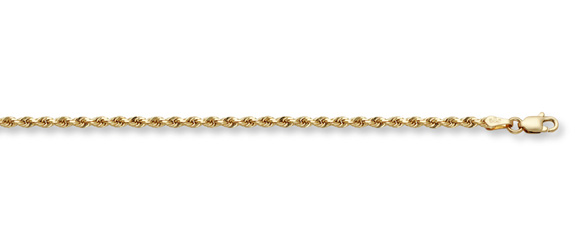 2.5mm Rope Bracelet, 14K Solid Gold