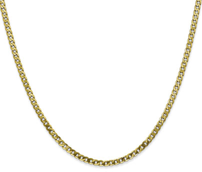10K Gold 2.9mm Beveled Curb Chain, 20